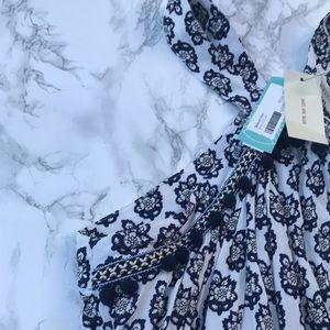 Blue patterned shift dress